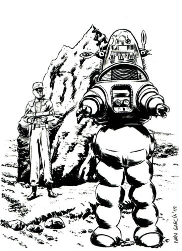 Dibujo Forbidden Planet Robby the Robot Ivan Garcia Commissions
